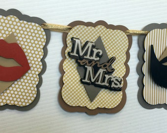 Wedding Shower banner for bride and groom beard and lips
