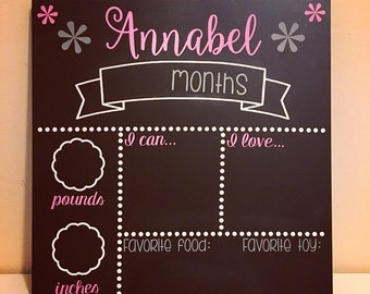 Baby Monthly Milestones- Chalkboard Sign- Personalized- Customization Available