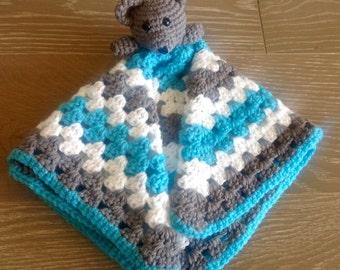 Crochet bear lovey, crochet toy, teddy bear lovey, teddy bear blanket, teddy bear blankey
