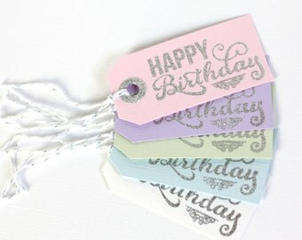 10 gift tags Happy Birthday, pink, purple, green, blue and white colour