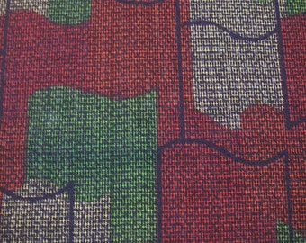 174: Vintage Japanese kimono/a roll cloth/wool/fabric  print red black green kasuri modern geometry