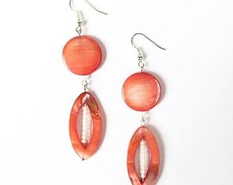 Orange Shell Drop Earrings