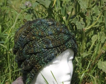 Green Hat with cables knitted hand
