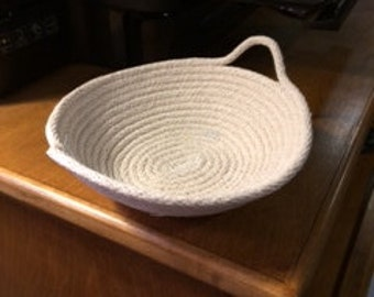 """Natural cotton rope small """"Ali bowl"""" with one or two handles"""