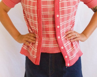 Retro Cardigan // Red and white Checkered Cardigan // Built in Tank Set