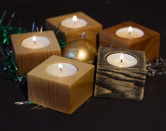 Wooden candleholder-Set of 5 tealight holder-wooden candlestick-wooden tealight holder