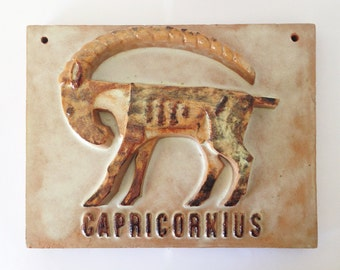 XL High-relief / Ceramic Plate - Zodiac Sign CAPRICORN - Star Sign