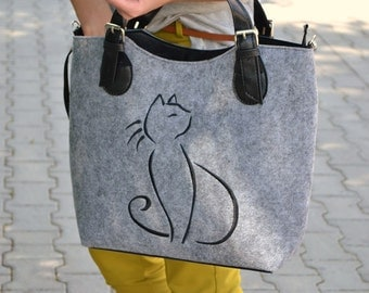 CAT BAG,BLACK cat,Felt cat purse,  Felted bag ,Felted purse, Felt satchel purse ,Grey handbag Designer handbag, Felt shoulder purse