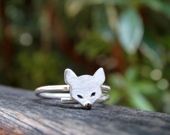 Silver fox ring, Fox ring, Sterling silver fox ring, Silver woman ring, Stacking Ring, Fox jewerlry, Adjustable ring Fox, Gifts for her
