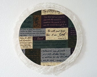 "12"" ring with Bible verses and a white lace border"