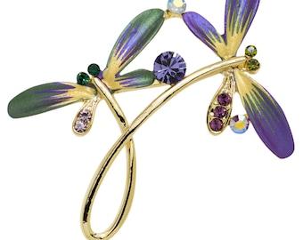 Hand Painted Swarovski Element Dragonfly Brooch Pin (purple)