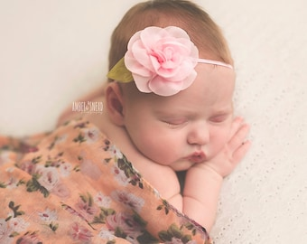 Shabby chic Pink flower newborn headband, infant headband, baby headband, newborn photo prop, headband, toddler headband, vintage headband
