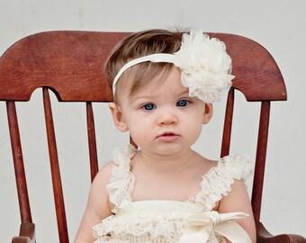 Ivory Lace puff flower headband, Vintage shabby chic headband, baby headband, newborn photo prop,