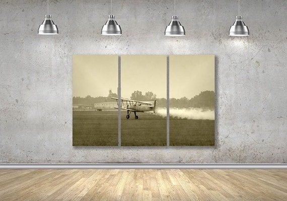 Vintage Airplane Photo Large Multipanel Wall Art 3 Panel