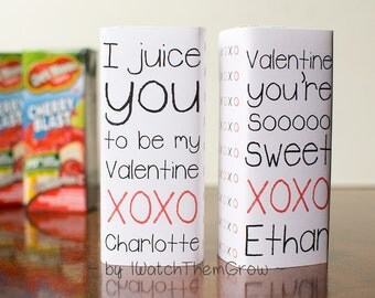 Custom Printable Valentines Juice Box Wrappers With Your Child's Name! Kids Class Valentines, Non-Candy Valentines, Valentine's Party PDF