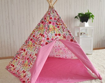 Girls Pink Large Play Tent Teepee Wigwam Tipi Indoor or Outdoor