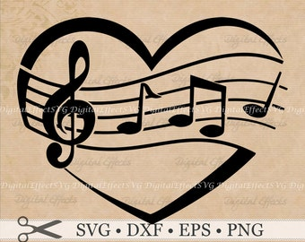 MUSIC Svg, Png, Dfx, Eps, Music Note Svg, Heart Svg, Heart with Music Notes, Cutting File Silhoutte Studio, Cricut Design Space, Svg Vector,