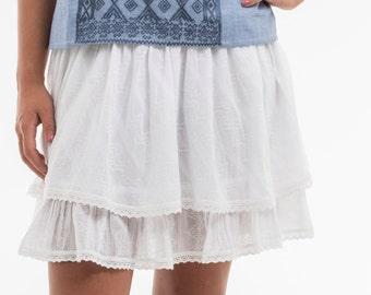 GLORIA Mini skirt of summer 100% cotton embroidered hand
