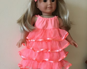 American Girl Coral Ruffle Dress Set