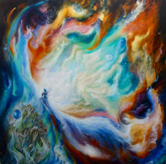 Outer space home decor abstract space art original oi for Outer space home decor