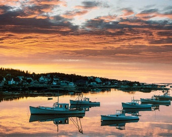 New England Coast, Maine Photo, Stonington Maine, Deer Isle  Harbor Photo, Sunrise Orange Sky, Lobster Boats, Maine Travel, Wall Decor