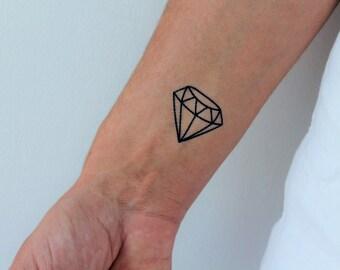 6 diamond temporary tattoos / geometric diamond temporary tattoo / set of 6 diamond tattoos
