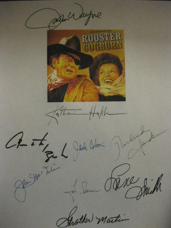 Rooster Cogburn Signed Film Movie Screenplay Script X9 Autograph John Wayne Katharine Hepburn Lane Smith Strother Martin Anthony Zerbe
