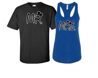 Mr and Mrs couples shirts, Mr and Mrs shirts, Disney couple shirts, Mr and Mrs, Ladies racerback with men's tee