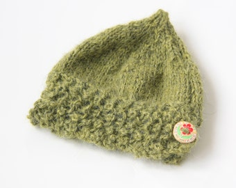 """Hand-knitted """"PixieHat"""" baby hat in moss green lambswool, pure wool, with flower button, Newborn/0-3 mths"""