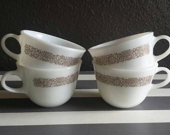 Pyrex Mugs. Milkglass Drinkware. Vintage Pyrex Set of 4. 'Woodlands' Design Pyrex.