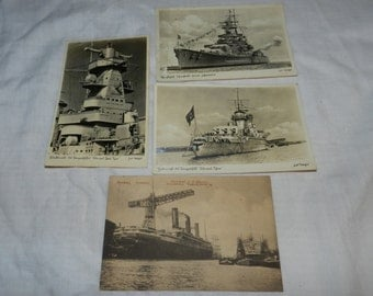 4 Vintage / Antique German Postcards of Ships - One dated 1914 - German Navy Battleships from early 1900s - Echte Photographie          2-22
