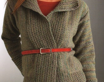 Ladies Sideways Jacket, Knitting Pattern.  PDF Instant Download.