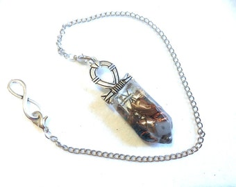 Orgonite pendulum dowsing (ORG50) Opaline, Sodalite, Labradorite & rock crystal