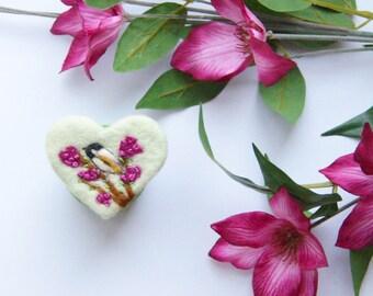 Needle felt brooch valentine heart, my little chickadee