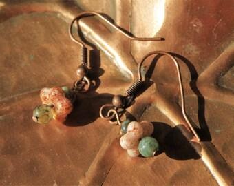 Orange & Green Speckled Beaded Dangle Earrings on Oxidized Copper Findings