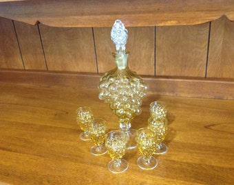 Golden Colored Grape Liqueur  Cluster Decanter and 6 Matching Glasses
