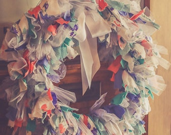Pretty Periwinkle Fabric Wreath