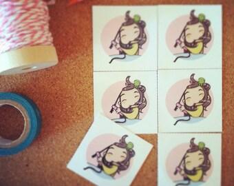 Round sticker - decal - pink - girly - manga - chibi - styling - styling