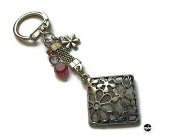Porte-clé fleur rouge,cristal,rouge
