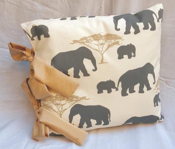 Handmade Cream Grey Beige Elephant Design Cushion Cover With Beige Gold Ribbon Ties