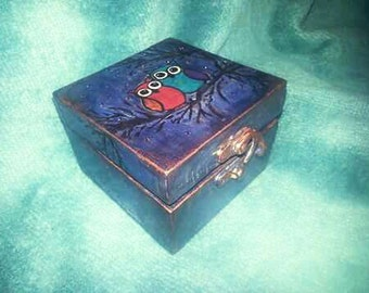 Owls on branch. Night sky trinket box. Made to order.