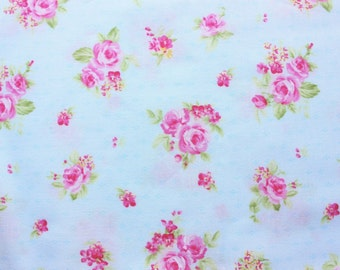 Quilting Fabric / Floral / Cotton Fabric / Medium Pink Rose Flowers / Light Vintage Blue / Crafting Dressmaking Sewing Patch / Half Metre