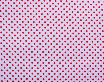 Cotton Fabric, Dots Fabric, Polkadot Fabric, Polka dot, White Red, Small Dots, Essential, Crafting Sewing Quilting Patchwork, Wide, .5 Metre