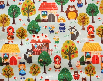 FREE SHIPPING PROMOTION Cute Kawaii Woodland Animals Fairy Tale Cotton Fabric Modern yet Vintage Blue Half Metre Perfect For Crafting