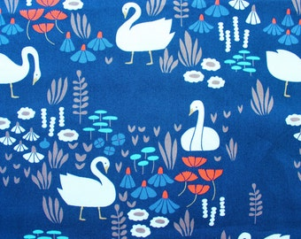 Elizabeth Olwen / Park Life / Cloud 9 Fabrics / Organic Cotton / Royal Swans Navy Blue / Quilting Crafting Sewing / Half Metre