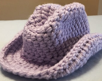 Baby Cowgirl Crochet Hat Purple