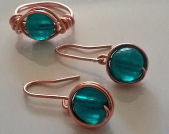 jade  earings and ring set
