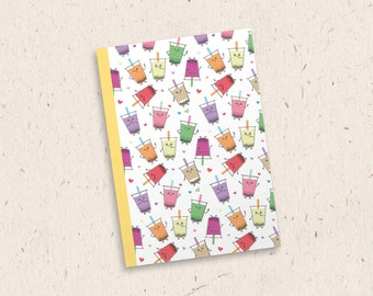 Amiteas A5 Notebook | Bubble Tea Notebook, Boba Tea Notebook, Kawaii Notebook, Cute Notebook, Back To School