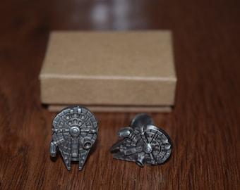 Star Wars Cuff Links, Star Wars, Fathers Day Gift, Wedding Cuff links, Millennium Falcon, millenium falcon cufflinks, star wars jewelry
