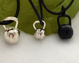 Kettlebell Necklace, KettleBell Jewelry, Black Kettlebell, Silver Kettlebell Charm, Fitness Gifts, Crossfit Jewelry, Sports Athlete Gift